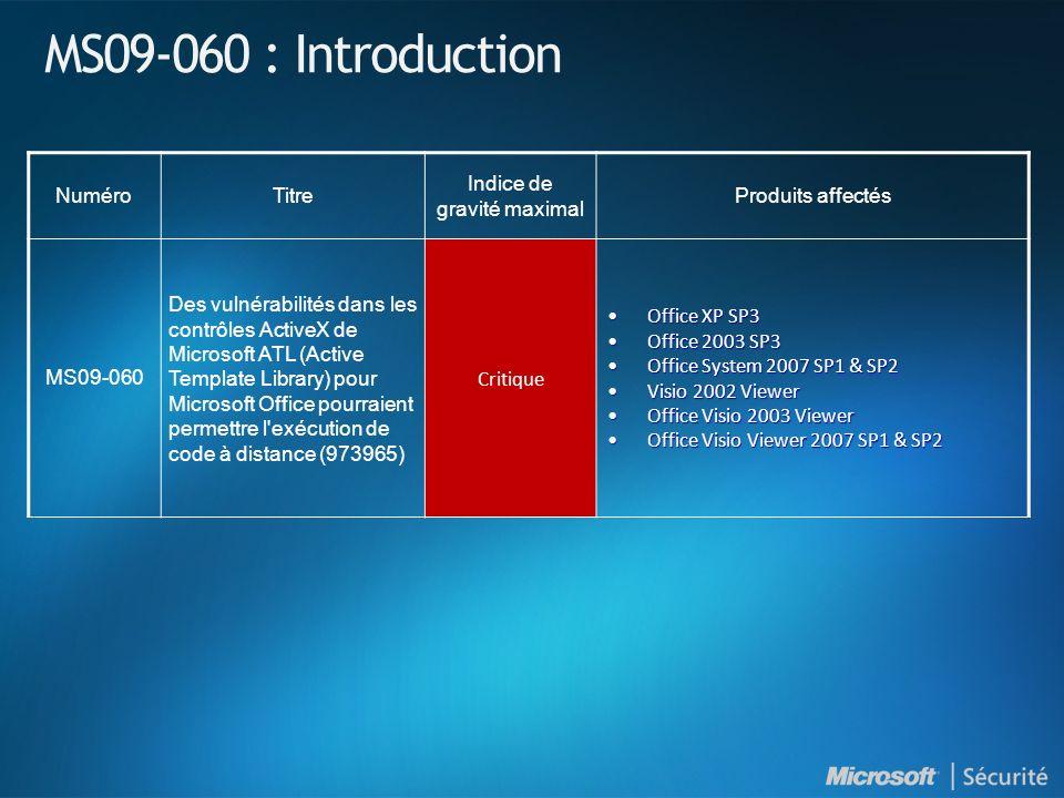 MS09-060 : Introduction NuméroTitre Indice de gravité maximal Produits affectés MS09-060 Des vulnérabilités dans les contrôles ActiveX de Microsoft AT