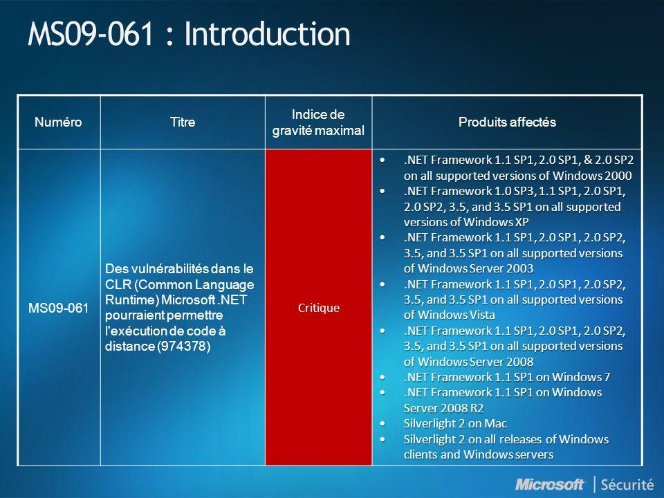 MS09-061 : Introduction NuméroTitre Indice de gravité maximal Produits affectés MS09-061 Des vulnérabilités dans le CLR (Common Language Runtime) Micr