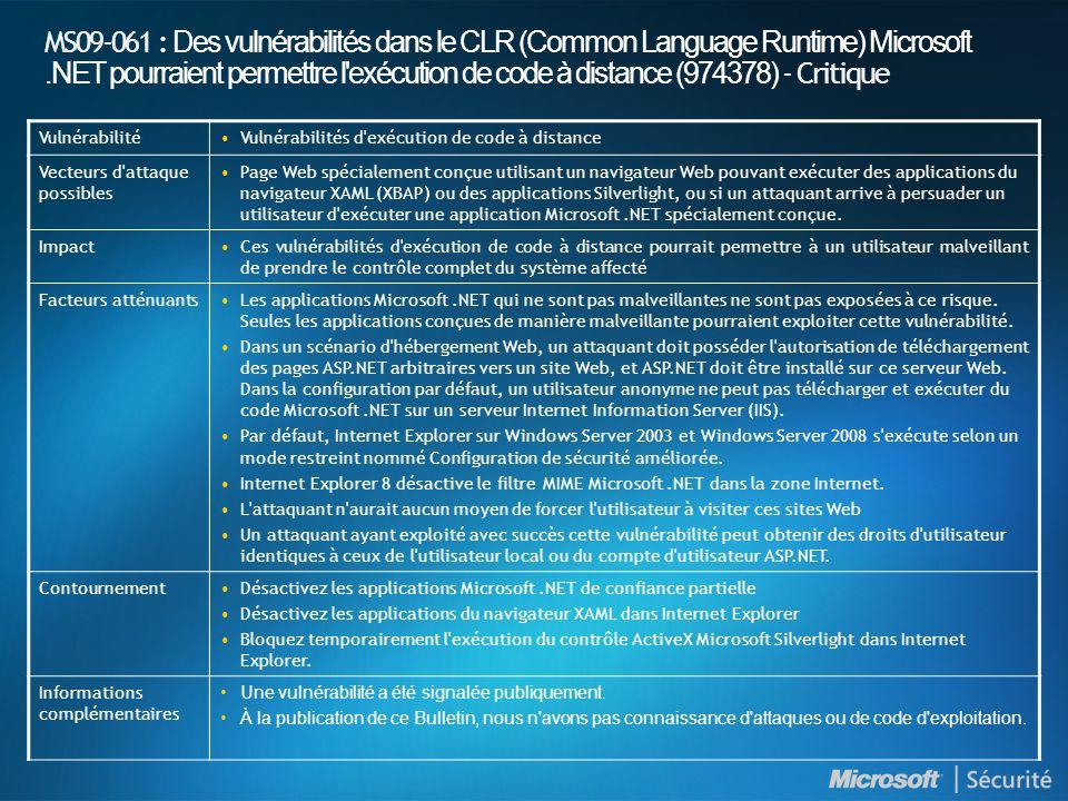MS09-061 : Des vulnérabilités dans le CLR (Common Language Runtime) Microsoft.NET pourraient permettre l'exécution de code à distance (974378) - Criti