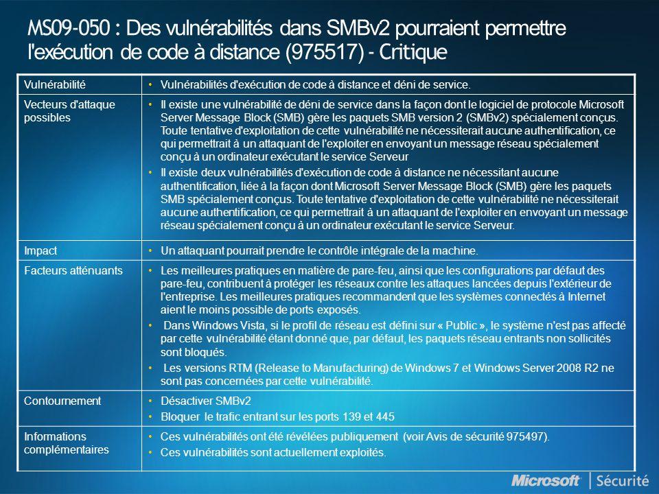 MS09-050 : Des vulnérabilités dans SMBv2 pourraient permettre l'exécution de code à distance (975517) - Critique VulnérabilitéVulnérabilités d'exécuti