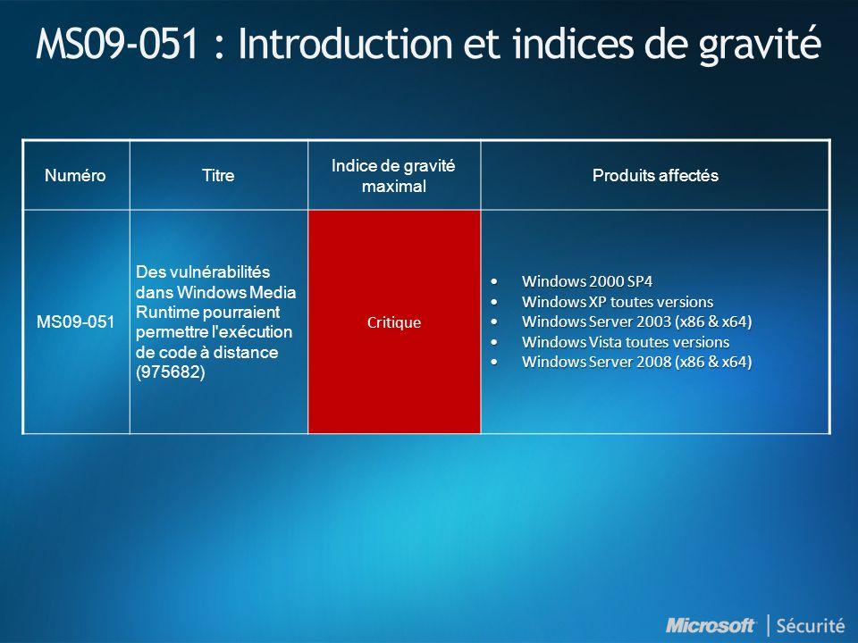 MS09-051 : Introduction et indices de gravité NuméroTitre Indice de gravité maximal Produits affectés MS09-051 Des vulnérabilités dans Windows Media R
