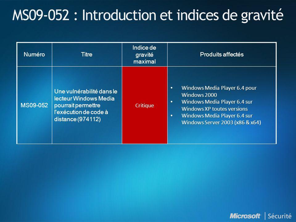 MS09-052 : Introduction et indices de gravité NuméroTitre Indice de gravité maximal Produits affectés MS09-052 Une vulnérabilité dans le lecteur Windo