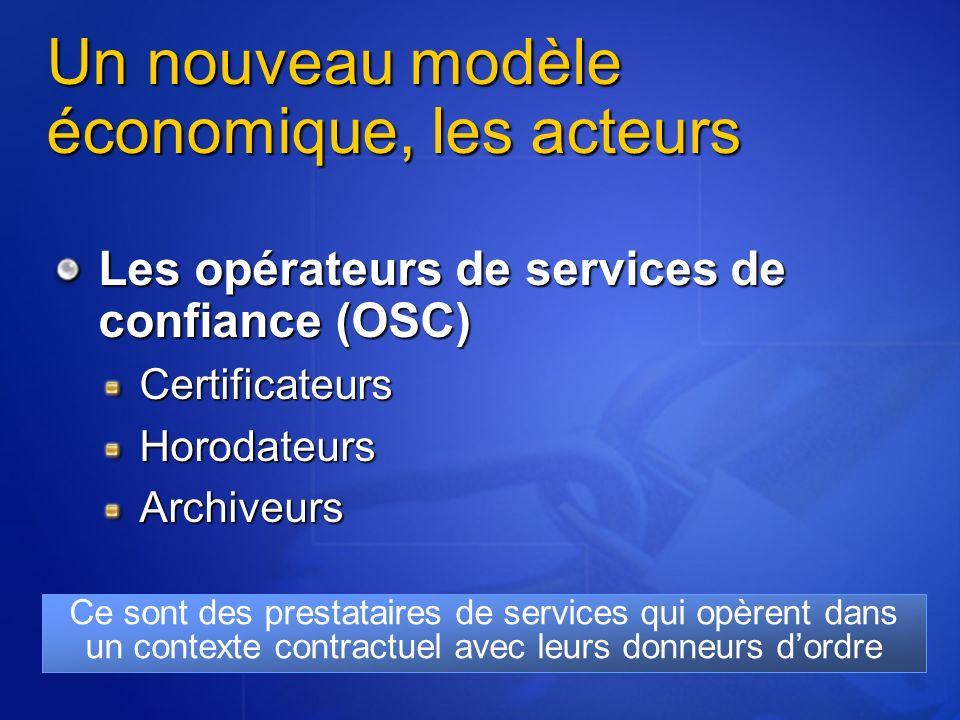 Un nouveau modèle économique, les acteurs Les opérateurs de services de confiance (OSC) CertificateursHorodateursArchiveurs Ce sont des prestataires de services qui opèrent dans un contexte contractuel avec leurs donneurs dordre