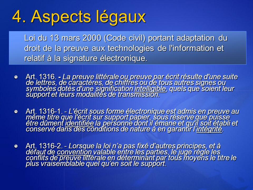 4.Aspects légaux Art. 1316.