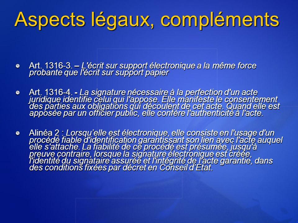 Aspects légaux, compléments Art.1316-3.