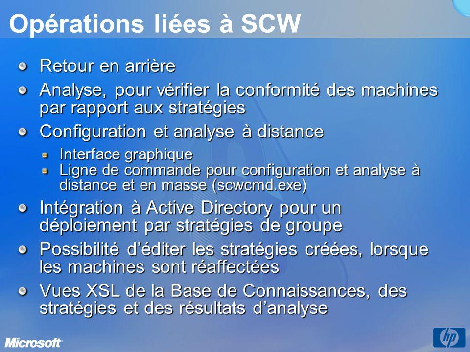 Opérations liées à SCW Retour en arrière Analyse, pour vérifier la conformité des machines par rapport aux stratégies Configuration et analyse à distance Interface graphique Ligne de commande pour configuration et analyse à distance et en masse (scwcmd.exe) Intégration à Active Directory pour un déploiement par stratégies de groupe Possibilité déditer les stratégies créées, lorsque les machines sont réaffectées Vues XSL de la Base de Connaissances, des stratégies et des résultats danalyse