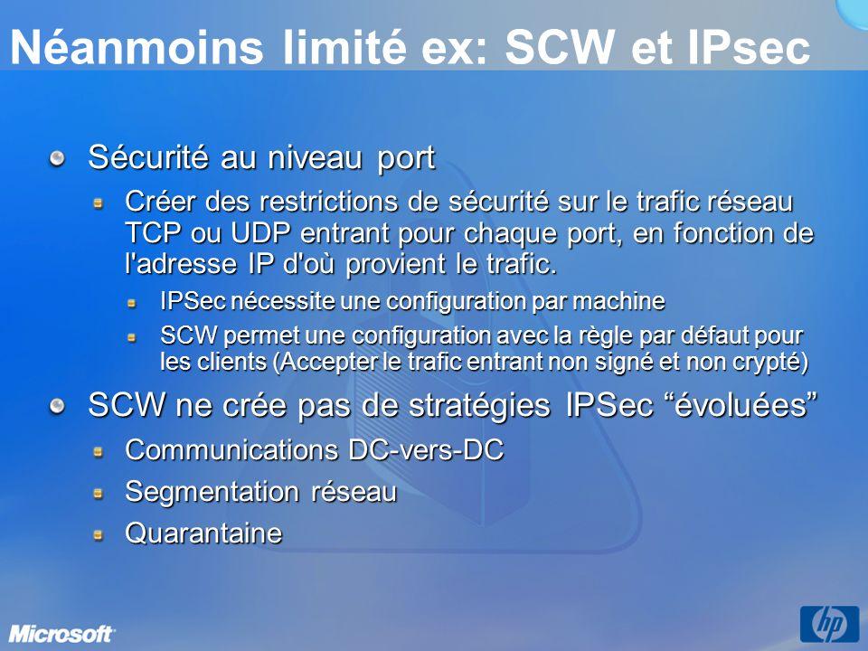 Néanmoins limité ex: SCW et IPsec Sécurité au niveau port Créer des restrictions de sécurité sur le trafic réseau TCP ou UDP entrant pour chaque port, en fonction de l adresse IP d où provient le trafic.