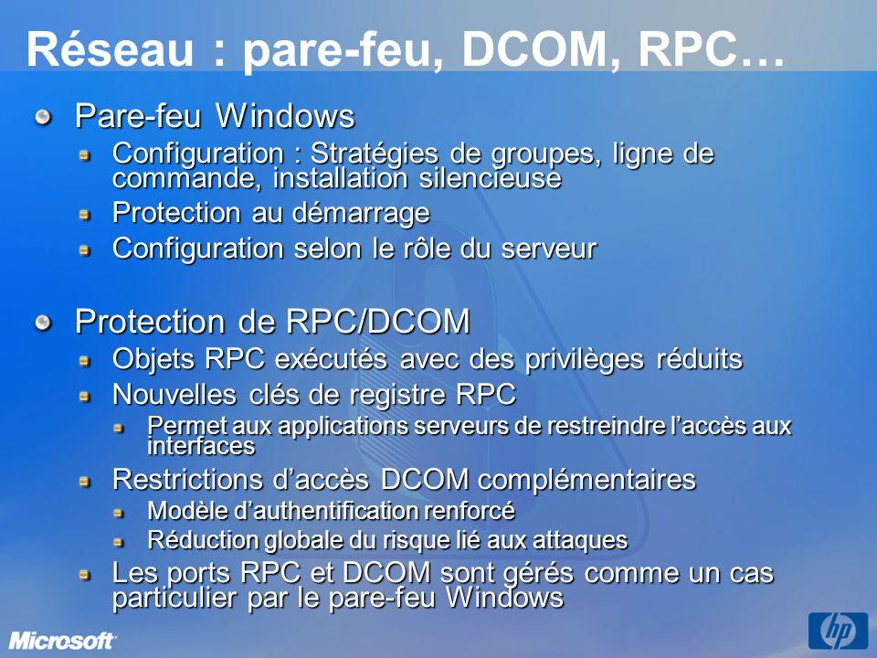 Réseau : pare-feu, DCOM, RPC… Pare-feu Windows Configuration : Stratégies de groupes, ligne de commande, installation silencieuse Protection au démarrage Configuration selon le rôle du serveur Protection de RPC/DCOM Objets RPC exécutés avec des privilèges réduits Nouvelles clés de registre RPC Permet aux applications serveurs de restreindre laccès aux interfaces Restrictions daccès DCOM complémentaires Modèle dauthentification renforcé Réduction globale du risque lié aux attaques Les ports RPC et DCOM sont gérés comme un cas particulier par le pare-feu Windows