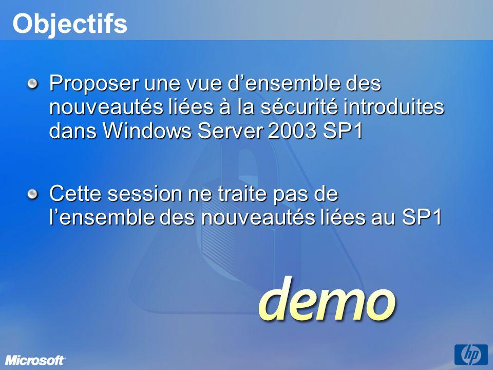Objectifs Proposer une vue densemble des nouveautés liées à la sécurité introduites dans Windows Server 2003 SP1 Cette session ne traite pas de lensemble des nouveautés liées au SP1