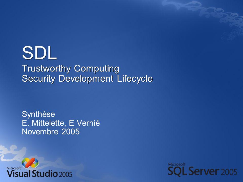 Processus de modélisation des menaces Étape 5 : Documenter les menaces Documenter les menaces à l aide d un mod è le : Documenter les menaces à l aide d un mod è le : Ne pas renseigner le champ Risque (pour l instant) Ne pas renseigner le champ Risque (pour l instant) Description de la menaceInjection de commandes SQL Cible de la menace Composant de l accès aux données Risque Techniques d attaque L intrus ajoute des commandes SQL au nom d utilisateur utilisé pour former une requête SQL Contre-mesures Utiliser une expression régulière pour valider le nom d utilisateur et une procédure stockée avec des paramètres pour accéder à la base de données