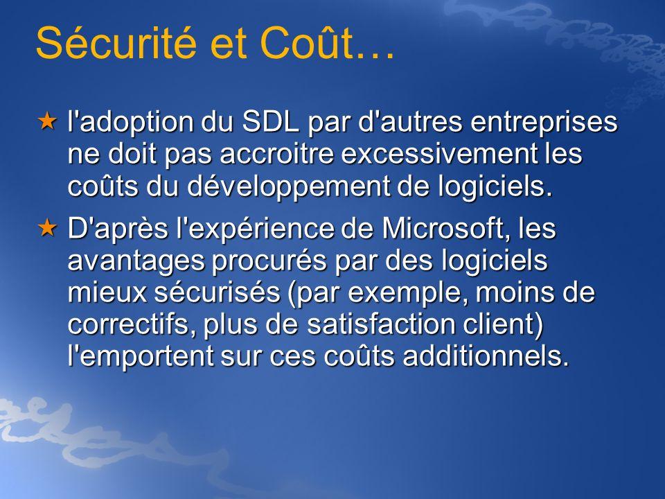 Sécurité et Coût… l'adoption du SDL par d'autres entreprises ne doit pas accroitre excessivement les coûts du développement de logiciels. l'adoption d