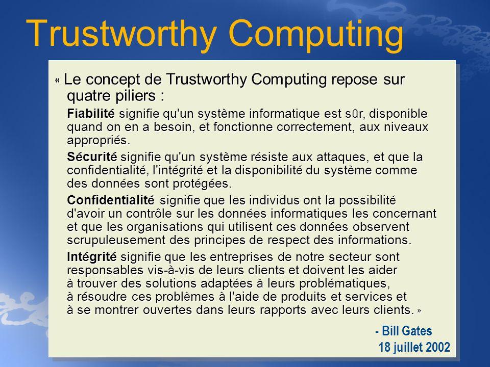 « Le concept de Trustworthy Computing repose sur quatre piliers : Fiabilit é signifie qu'un syst è me informatique est s û r, disponible quand on en a