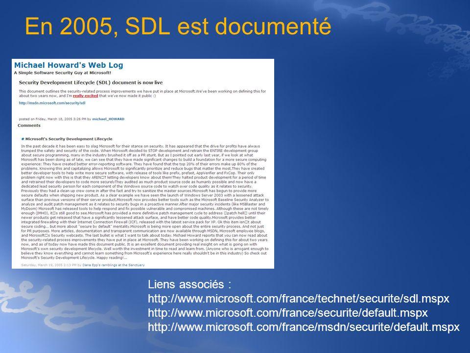 En 2005, SDL est documenté Liens associés : http://www.microsoft.com/france/technet/securite/sdl.mspx http://www.microsoft.com/france/securite/default