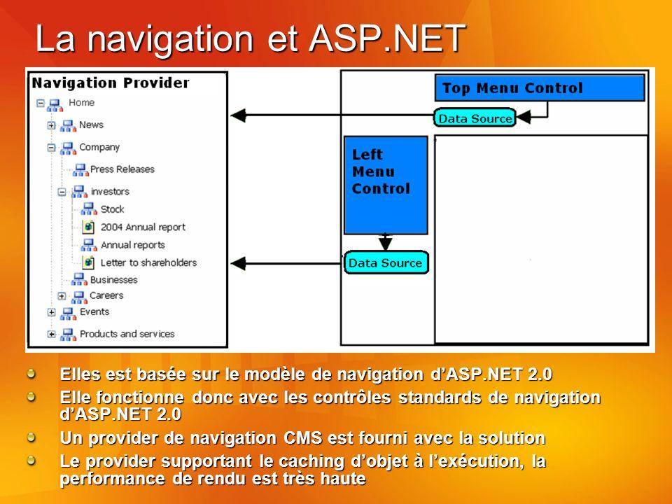La navigation et ASP.NET Elles est basée sur le modèle de navigation dASP.NET 2.0 Elle fonctionne donc avec les contrôles standards de navigation dASP.NET 2.0 Un provider de navigation CMS est fourni avec la solution Le provider supportant le caching dobjet à lexécution, la performance de rendu est très haute