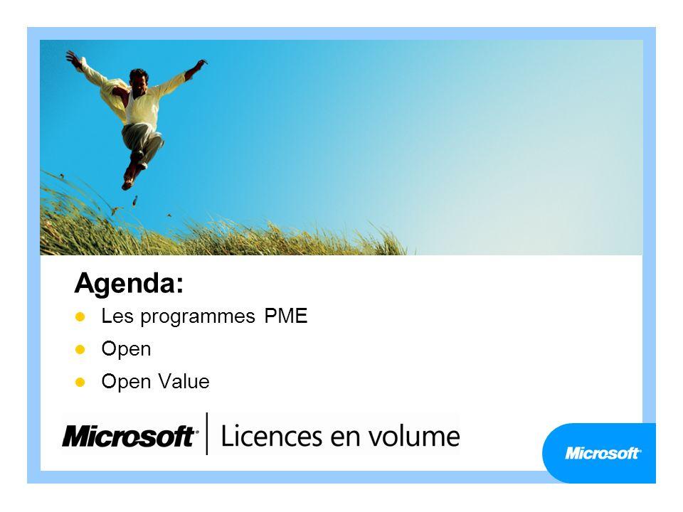 Agenda: Les programmes PME Open Open Value