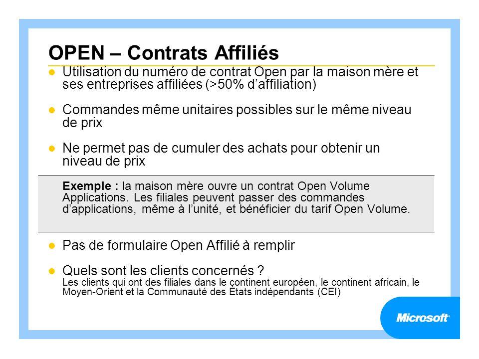 OPEN – Contrats Affiliés Utilisation du numéro de contrat Open par la maison mère et ses entreprises affiliées (>50% daffiliation) Commandes même unit