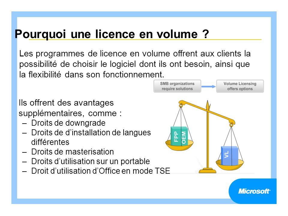 Pourquoi une licence en volume ? Ils offrent des avantages supplémentaires, comme : –Droits de downgrade –Droits de dinstallation de langues différent