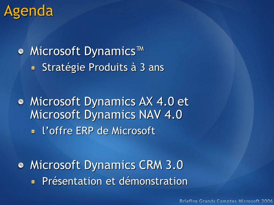 Agenda Microsoft Dynamics Stratégie Produits à 3 ans Microsoft Dynamics AX 4.0 et Microsoft Dynamics NAV 4.0 loffre ERP de Microsoft Microsoft Dynamic