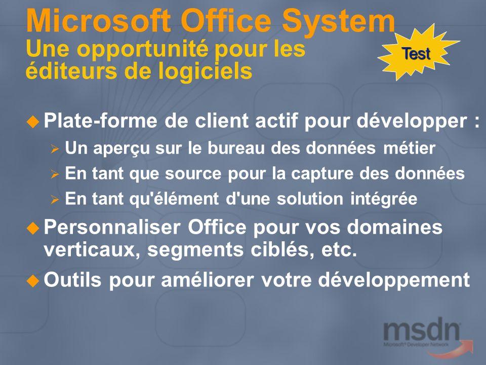 Programme Microsoft Office System Évolution Opportunité commerciale pour les éditeurs de logiciels Axes de développement Mise en œuvre technique pour les éditeurs de logiciels Programme de préparation Étapes suivantes