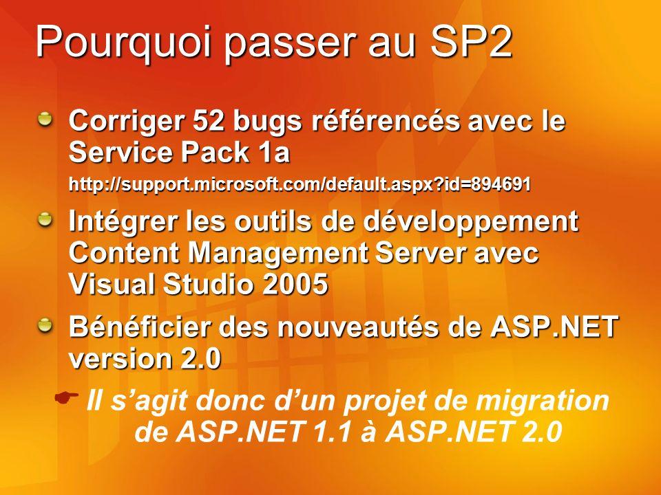Pourquoi passer au SP2 Corriger 52 bugs référencés avec le Service Pack 1a http://support.microsoft.com/default.aspx id=894691 Intégrer les outils de développement Content Management Server avec Visual Studio 2005 Bénéficier des nouveautés de ASP.NET version 2.0 Il sagit donc dun projet de migration de ASP.NET 1.1 à ASP.NET 2.0