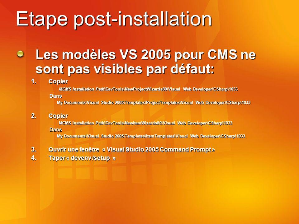 Etape post-installation Les modèles VS 2005 pour CMS ne sont pas visibles par défaut: 1.