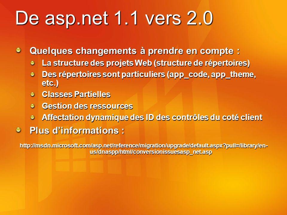 De asp.net 1.1 vers 2.0 Quelques changements à prendre en compte : La structure des projets Web (structure de répertoires) Des répertoires sont particuliers (app_code, app_theme, etc.) Classes Partielles Gestion des ressources Affectation dynamique des ID des contrôles du coté client Plus dinformations : http://msdn.microsoft.com/asp.net/reference/migration/upgrade/default.aspx pull=/library/en- us/dnaspp/html/conversionissuesasp_net.asp