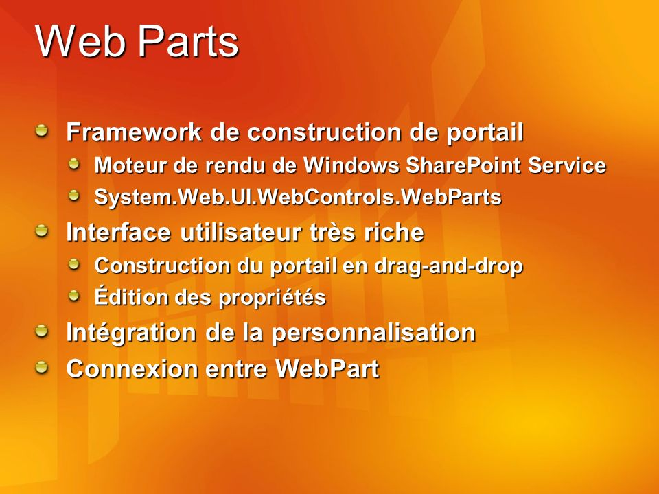 Web Parts Framework de construction de portail Moteur de rendu de Windows SharePoint Service System.Web.UI.WebControls.WebParts Interface utilisateur