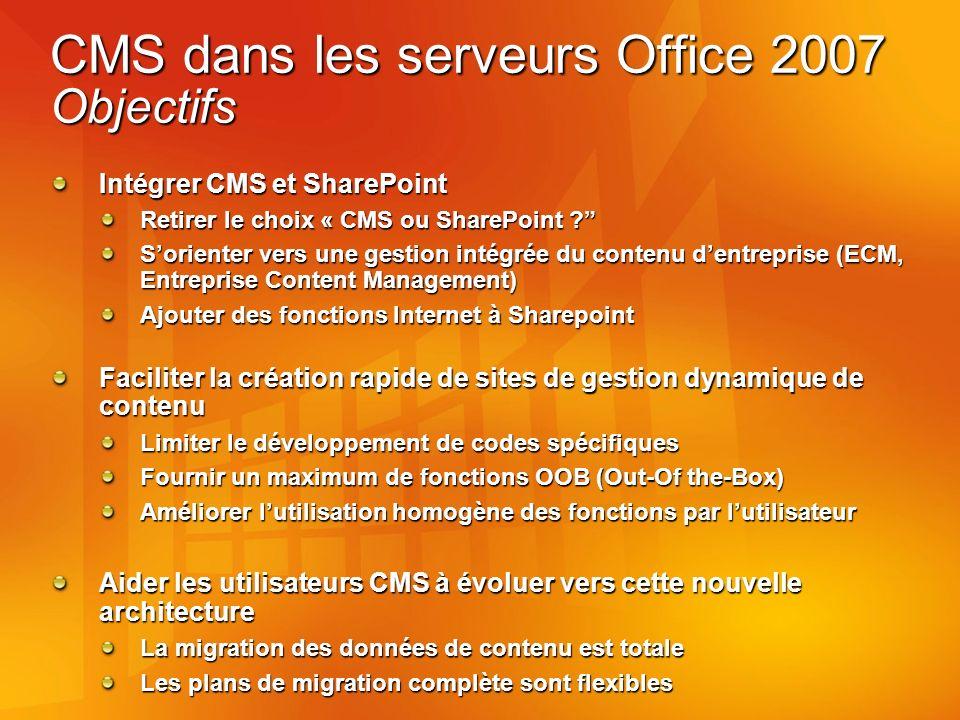 CMS dans les serveurs Office 2007 Objectifs Intégrer CMS et SharePoint Retirer le choix « CMS ou SharePoint .