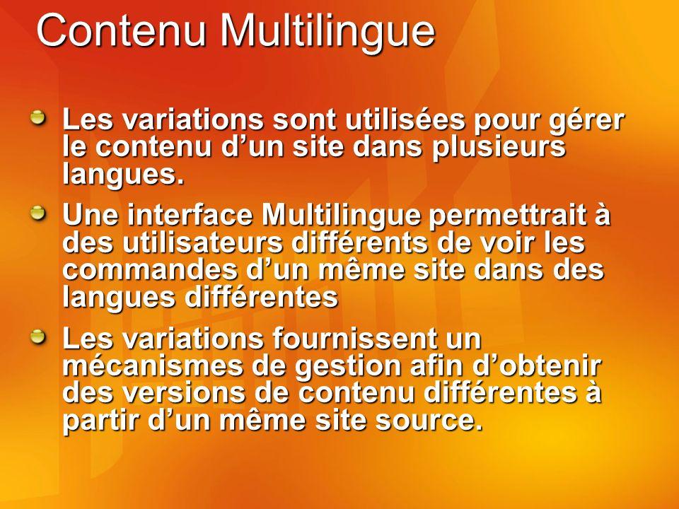 Contenu Multilingue Les variations sont utilisées pour gérer le contenu dun site dans plusieurs langues.
