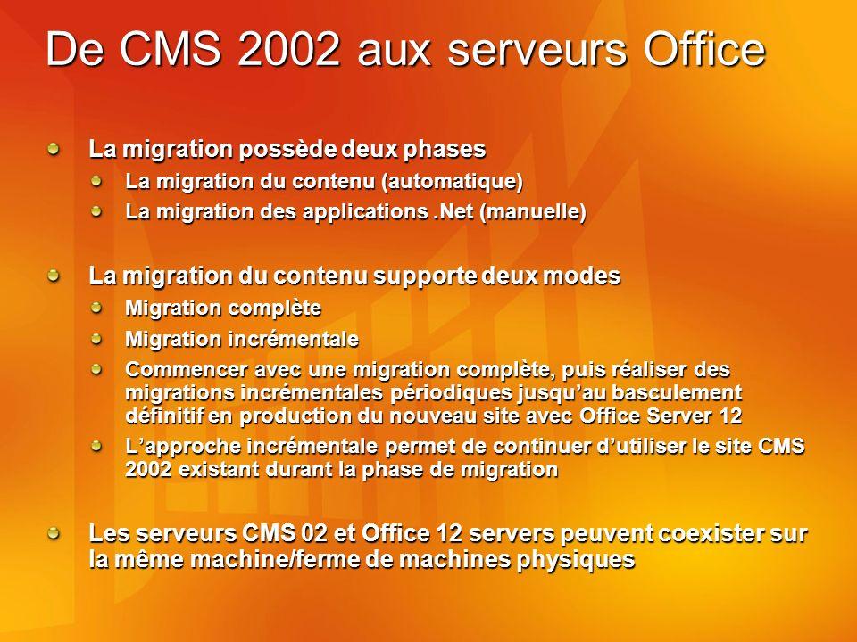 De CMS 2002 aux serveurs Office La migration possède deux phases La migration du contenu (automatique) La migration des applications.Net (manuelle) La migration du contenu supporte deux modes Migration complète Migration incrémentale Commencer avec une migration complète, puis réaliser des migrations incrémentales périodiques jusquau basculement définitif en production du nouveau site avec Office Server 12 Lapproche incrémentale permet de continuer dutiliser le site CMS 2002 existant durant la phase de migration Les serveurs CMS 02 et Office 12 servers peuvent coexister sur la même machine/ferme de machines physiques