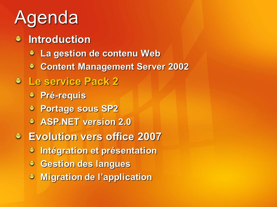 Agenda Introduction La gestion de contenu Web Content Management Server 2002 Le service Pack 2 Pré-requis Portage sous SP2 ASP.NET version 2.0 Evoluti