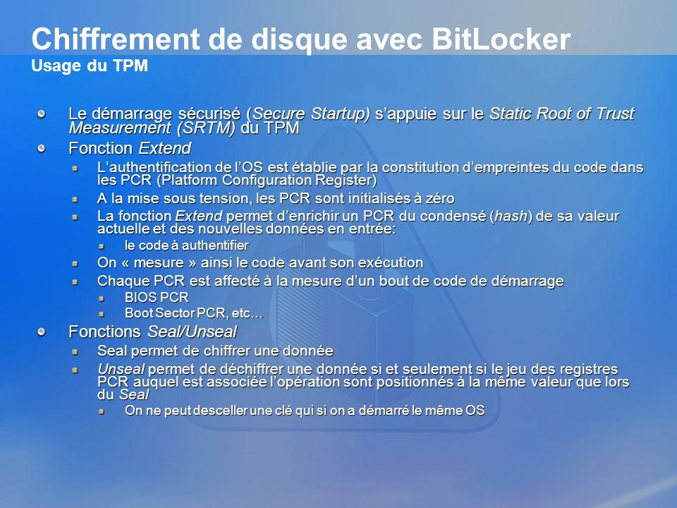 Chiffrement de disque avec BitLocker Usage du TPM Le démarrage sécurisé (Secure Startup) sappuie sur le Static Root of Trust Measurement (SRTM) du TPM