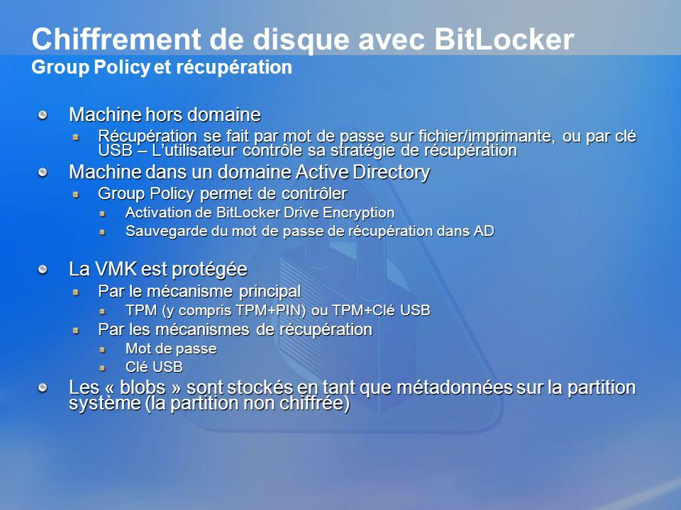 Chiffrement de disque avec BitLocker Group Policy et récupération Machine hors domaine Récupération se fait par mot de passe sur fichier/imprimante, o