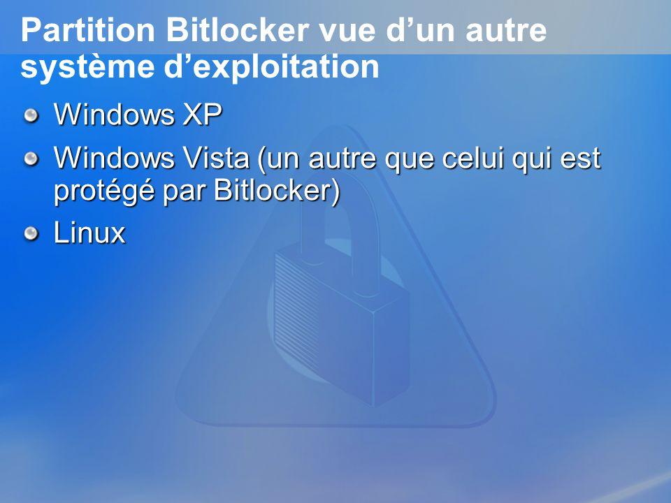 Partition Bitlocker vue dun autre système dexploitation Windows XP Windows Vista (un autre que celui qui est protégé par Bitlocker) Linux