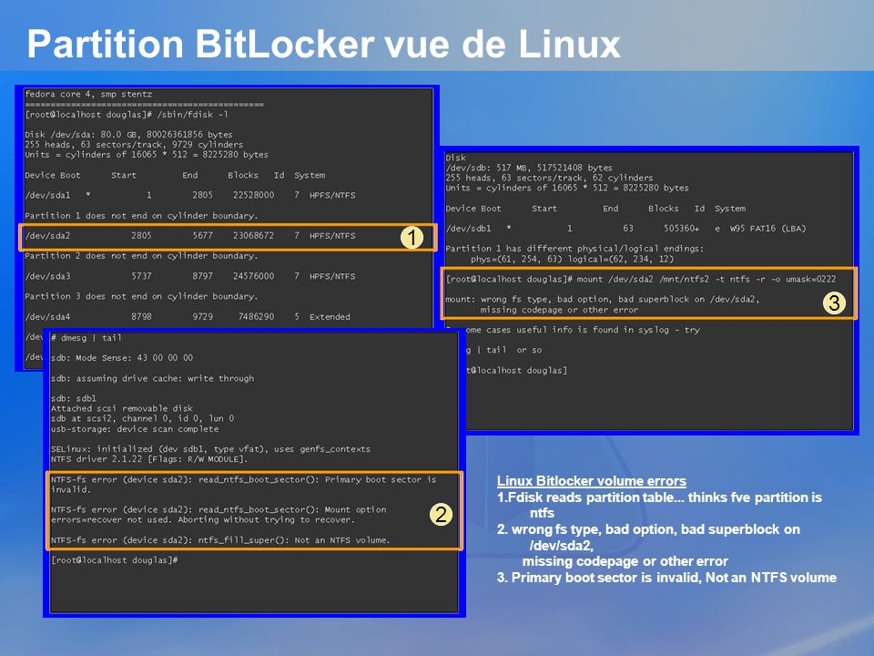 Partition BitLocker vue de Linux 1 3 Linux Bitlocker volume errors 1.Fdisk reads partition table... thinks fve partition is ntfs 2. wrong fs type, bad