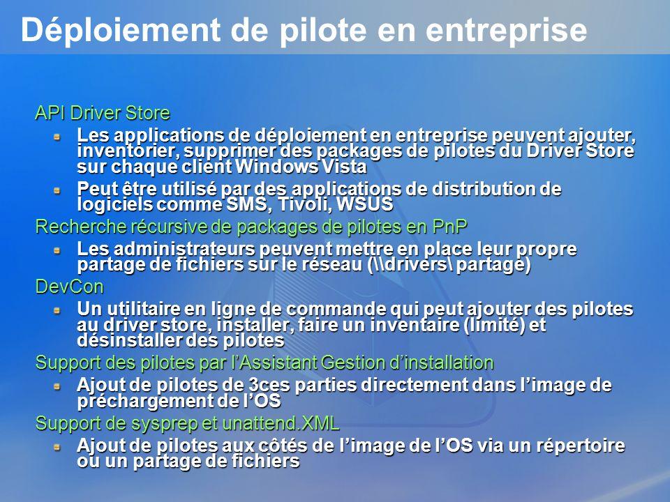 Déploiement de pilote en entreprise API Driver Store Les applications de déploiement en entreprise peuvent ajouter, inventorier, supprimer des package