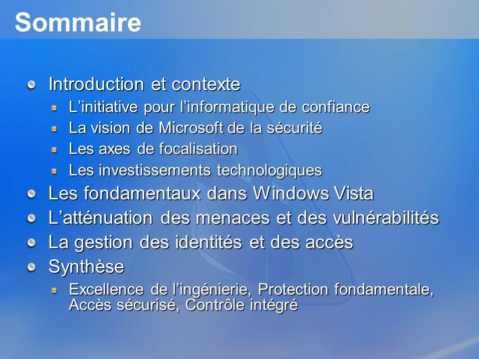 Sommaire Introduction et contexte Linitiative pour linformatique de confiance La vision de Microsoft de la sécurité Les axes de focalisation Les inves