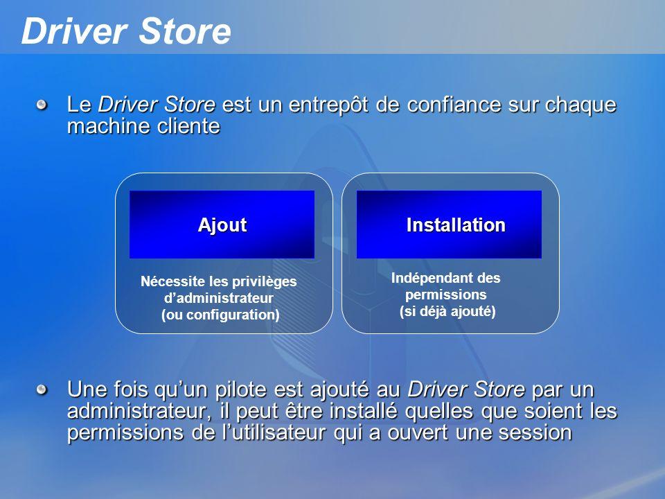 Driver Store Le Driver Store est un entrepôt de confiance sur chaque machine cliente Une fois quun pilote est ajouté au Driver Store par un administra