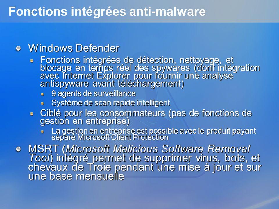 Fonctions intégrées anti-malware Windows Defender Fonctions intégrées de détection, nettoyage, et blocage en temps réel des spywares (dont intégration