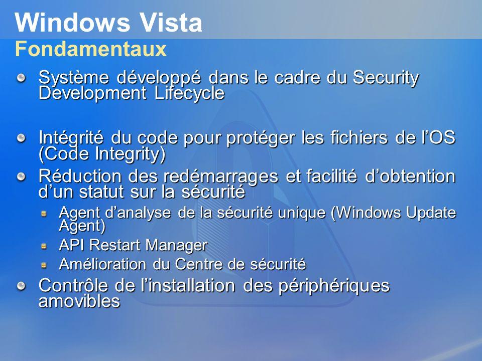 Windows Vista Fondamentaux Système développé dans le cadre du Security Development Lifecycle Intégrité du code pour protéger les fichiers de lOS (Code