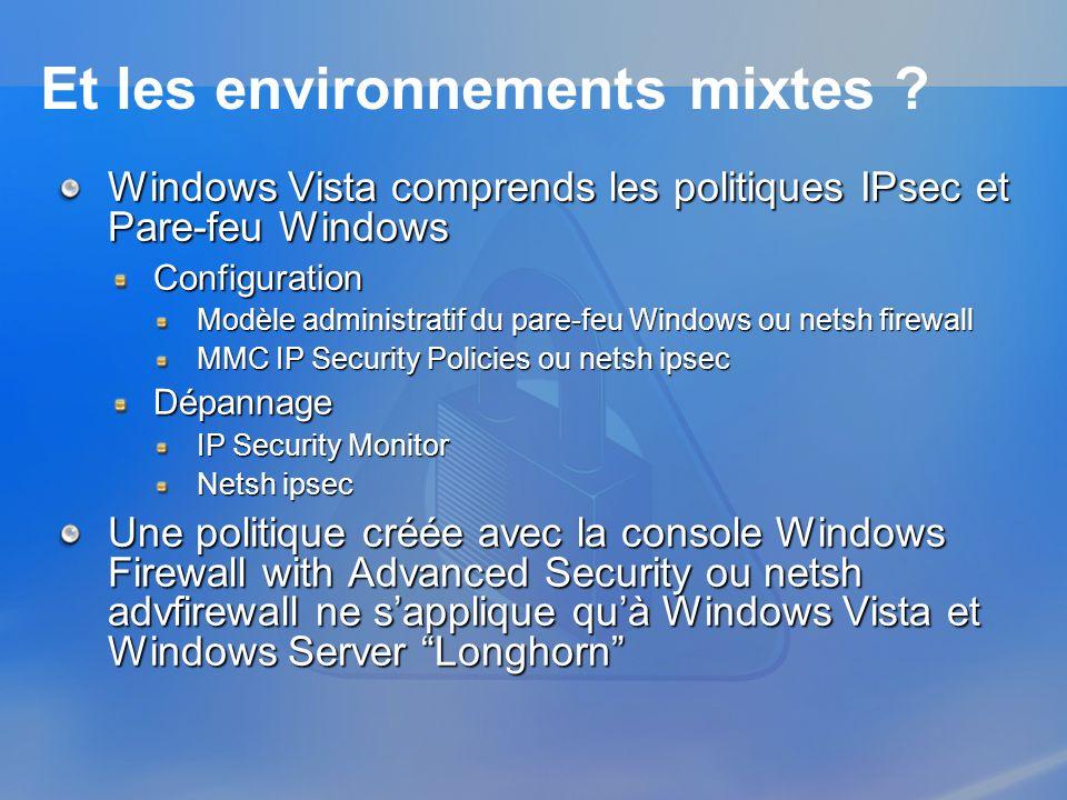 Et les environnements mixtes ? Windows Vista comprends les politiques IPsec et Pare-feu Windows Configuration Modèle administratif du pare-feu Windows
