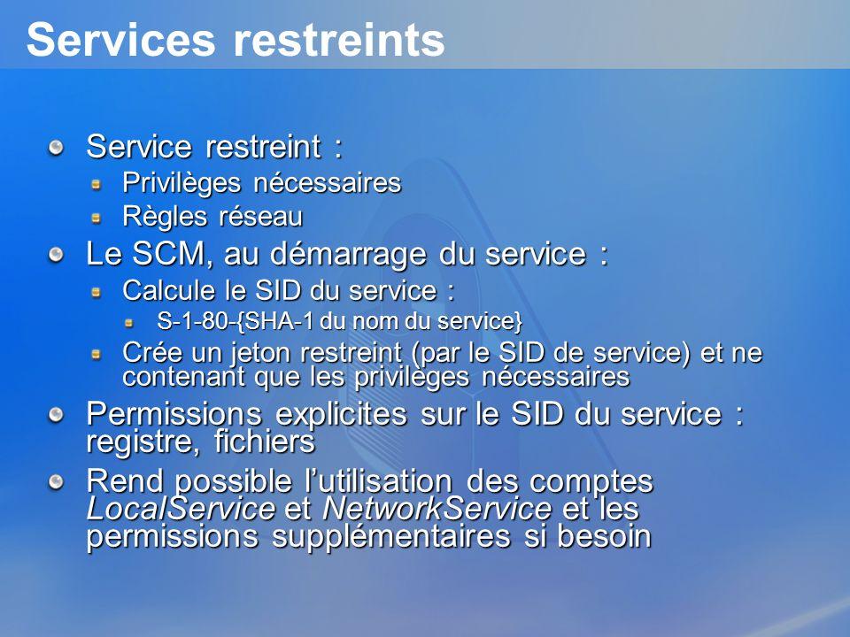 Services restreints Service restreint : Privilèges nécessaires Règles réseau Le SCM, au démarrage du service : Calcule le SID du service : S-1-80-{SHA