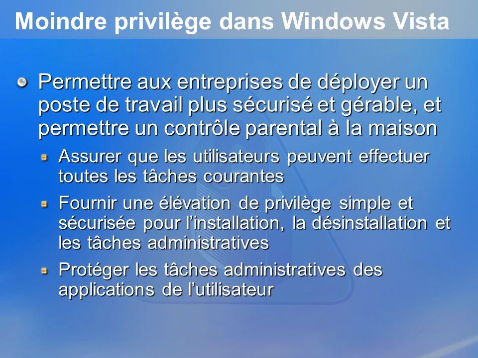 Moindre privilège dans Windows Vista Permettre aux entreprises de déployer un poste de travail plus sécurisé et gérable, et permettre un contrôle pare