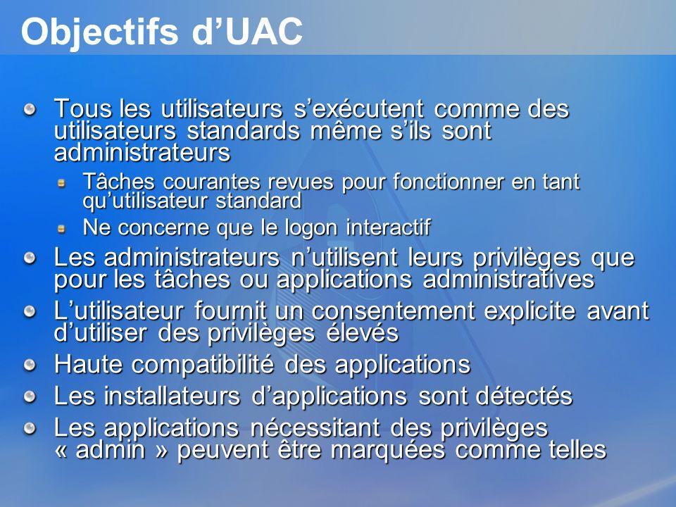 Objectifs dUAC Tous les utilisateurs sexécutent comme des utilisateurs standards même sils sont administrateurs Tâches courantes revues pour fonctionn