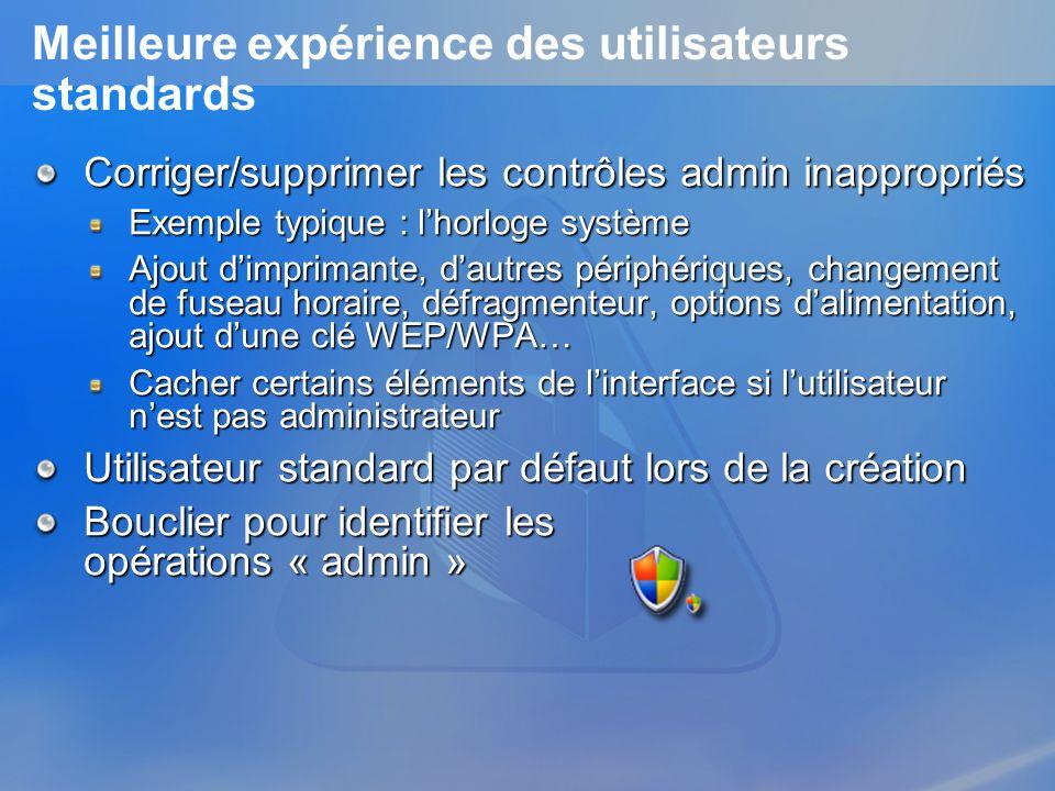 Meilleure expérience des utilisateurs standards Corriger/supprimer les contrôles admin inappropriés Exemple typique : lhorloge système Ajout dimpriman