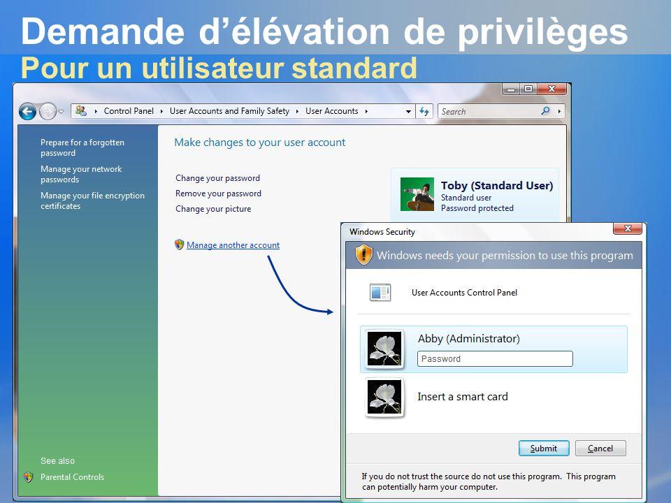 Demande délévation de privilèges Pour un utilisateur standard