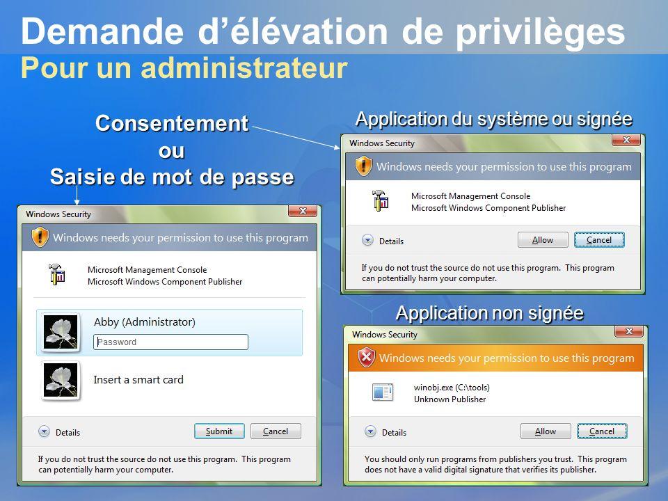 Demande délévation de privilèges Pour un administrateur Application du système ou signée Application non signée Consentementou Saisie de mot de passe