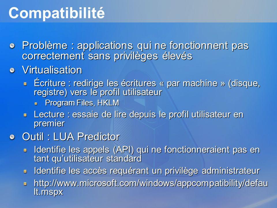 Compatibilité Problème : applications qui ne fonctionnent pas correctement sans privilèges élevés Virtualisation Écriture : redirige les écritures « p