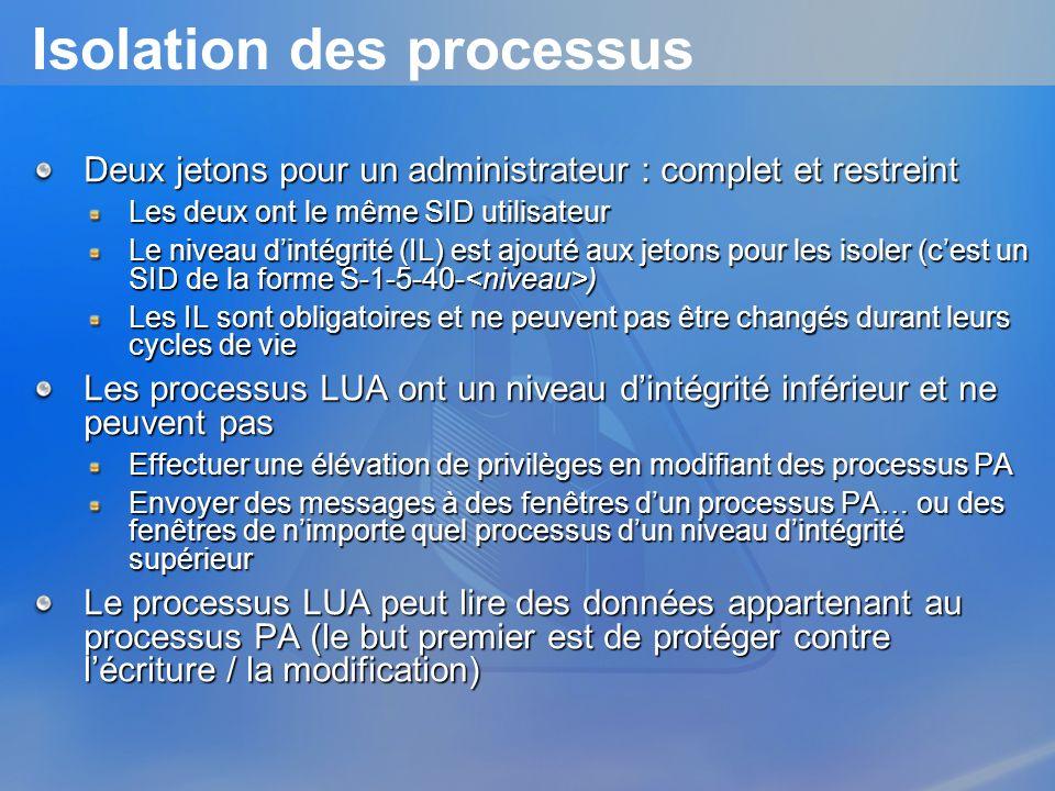 Isolation des processus Deux jetons pour un administrateur : complet et restreint Les deux ont le même SID utilisateur Le niveau dintégrité (IL) est a