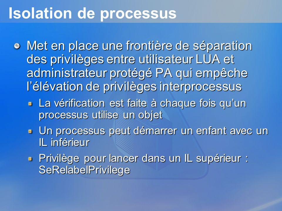 Isolation de processus Met en place une frontière de séparation des privilèges entre utilisateur LUA et administrateur protégé PA qui empêche lélévati